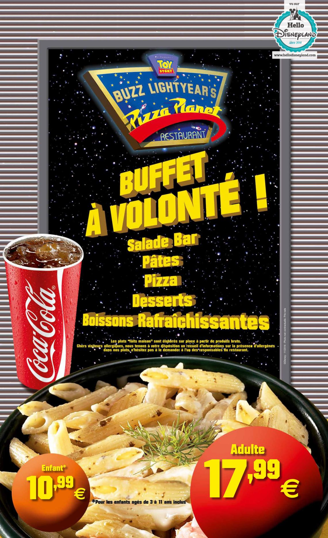 pizza planet menu disneyland paris restaurant