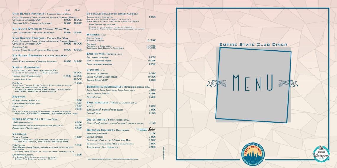 empire state club disneyland paris menu