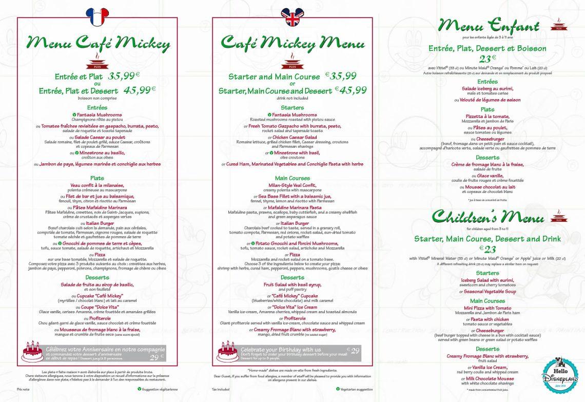menu café mickey 2017 Disneyland Paris