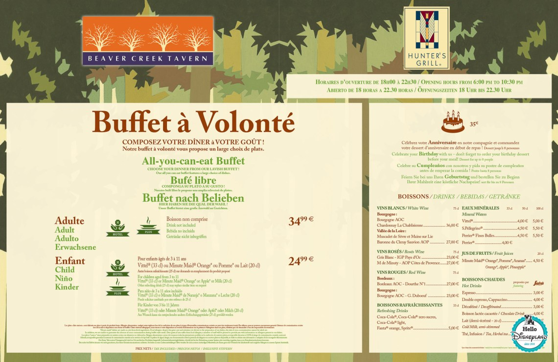 buffet sequoia menu 2018