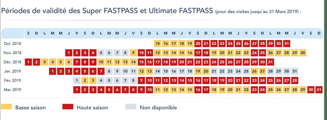 Calendrier nouveaux fastpass