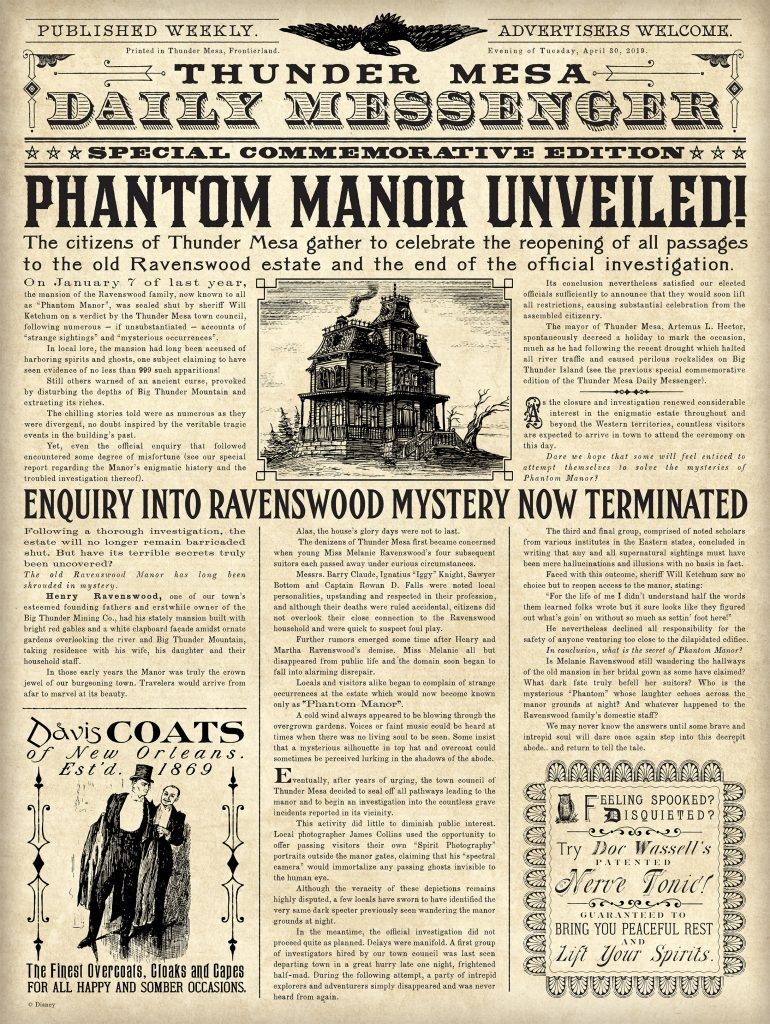 gazette-Phantom-Manor-FR Disneyland Paris réouverture collector