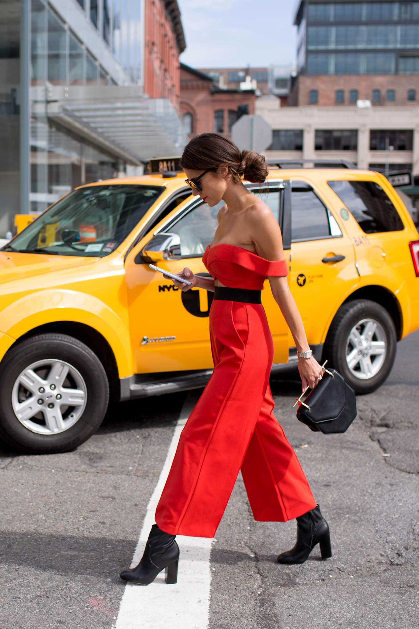 red off-the-shoulder jumpsuit hello fashion