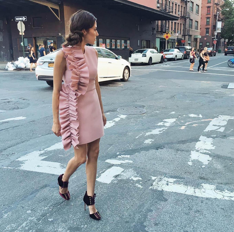 pink ruffled dress
