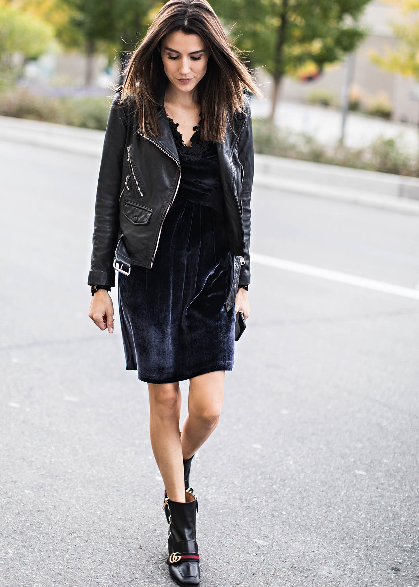 leather jacket and lace dress