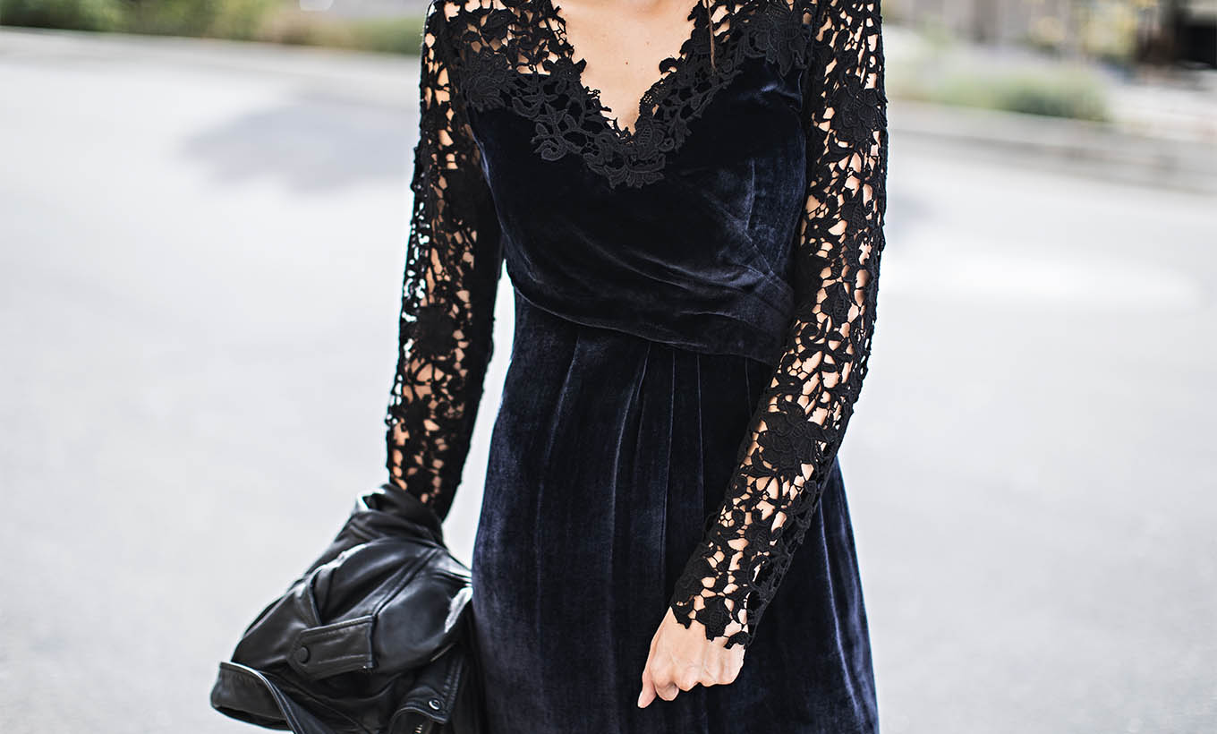 lace and velvet dress