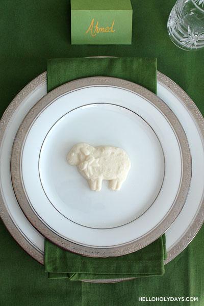 Hello Holy Days! shares a festive idea for Eid al Adha. Use chocolate lambs as place settings for dinner.