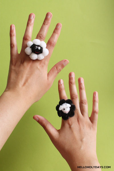 DIY jewelry for kids! Sheep shaped cocktail rings for Eid al Adha by Hello Holy Days!