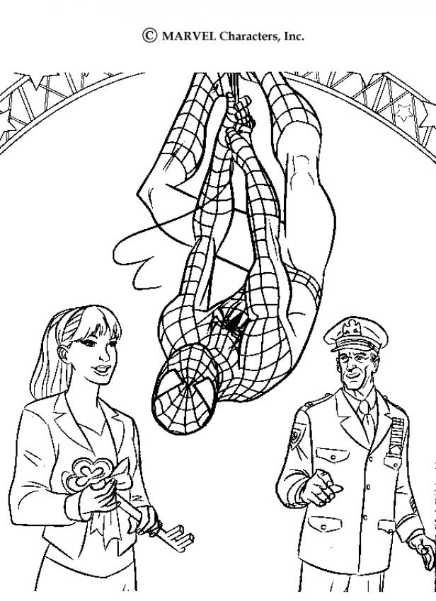 Spiderman and the key to the city coloring pages