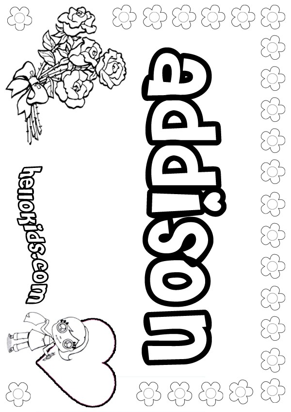 girls name coloring pages, Addison girly name to color