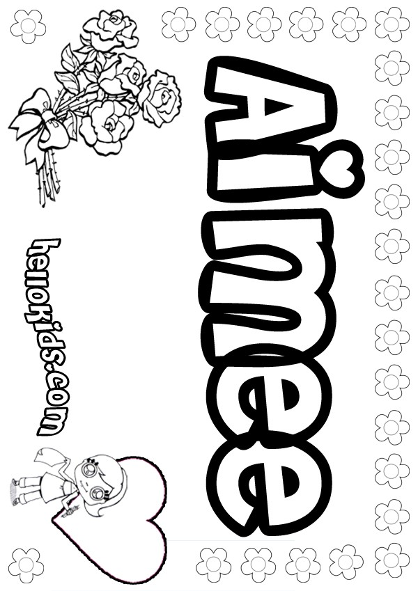 girls name coloring pages, Aimee girly name to color