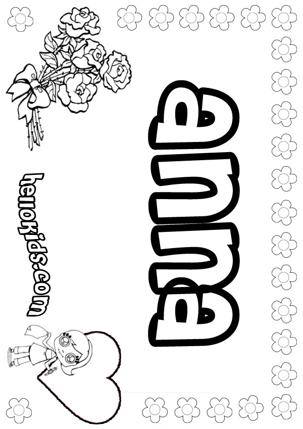 girls name coloring pages, Anna girly name to color
