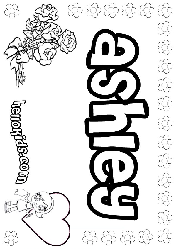 girls name coloring pages, Ashley girly name to color