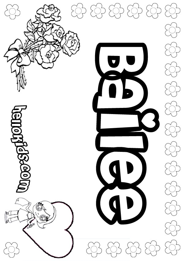 girls name coloring pages, Bailee girly name to color