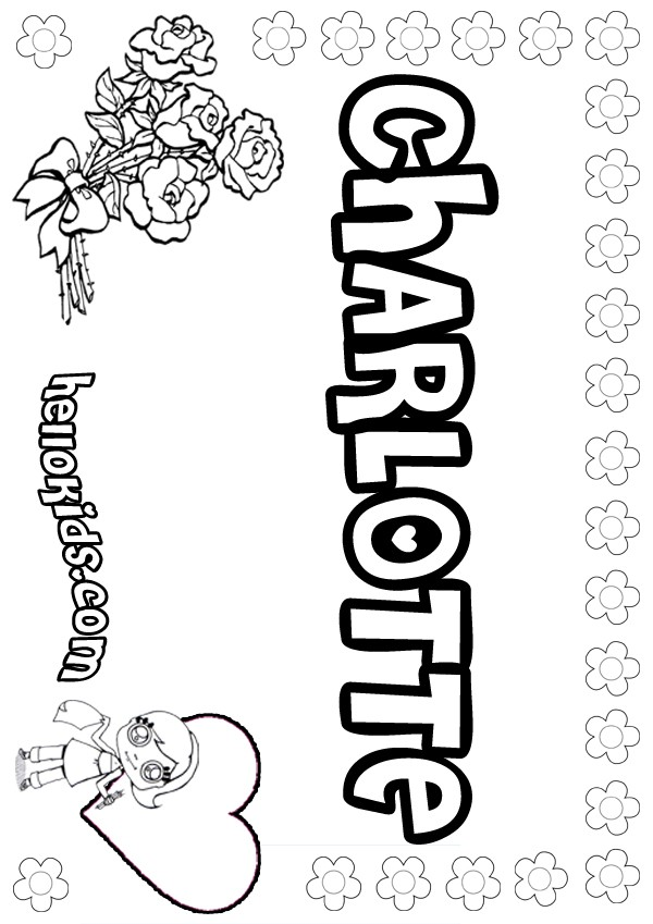 girls name coloring pages, Charlotte girly name to color