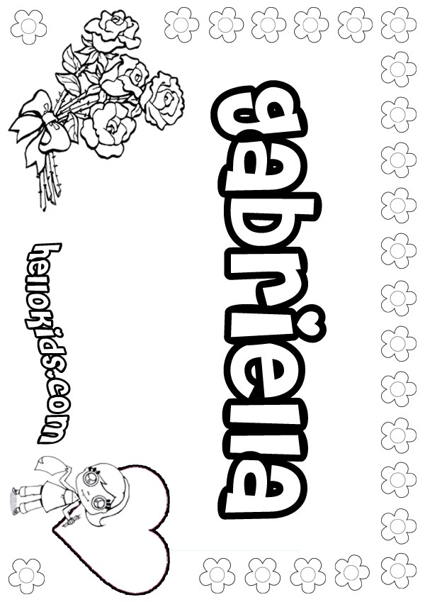 girls name coloring pages, Gabriella girly name to color