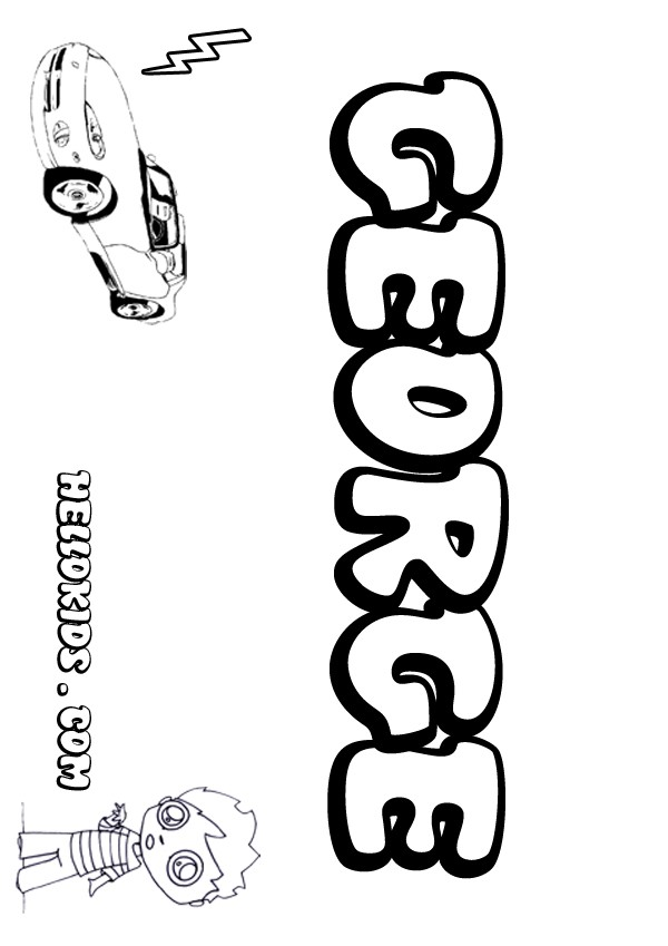 kids name coloring pages, George boy name to color