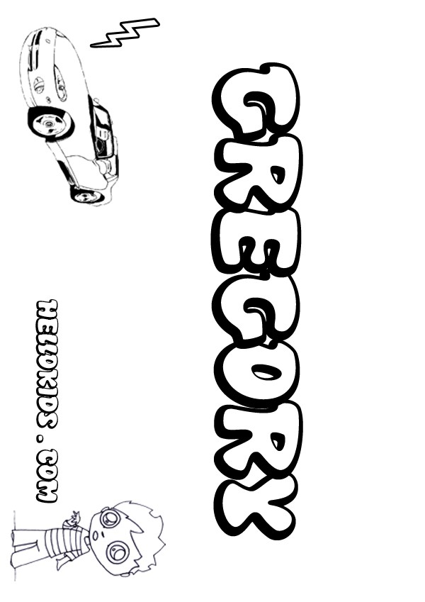 kids name coloring pages, Gregory boy name to color