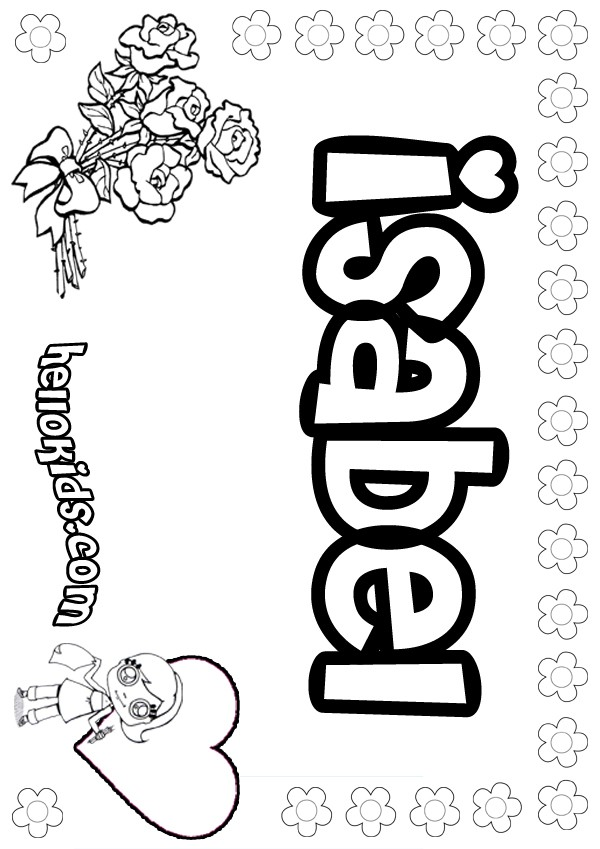 girls name coloring pages, Isabel girly name to color