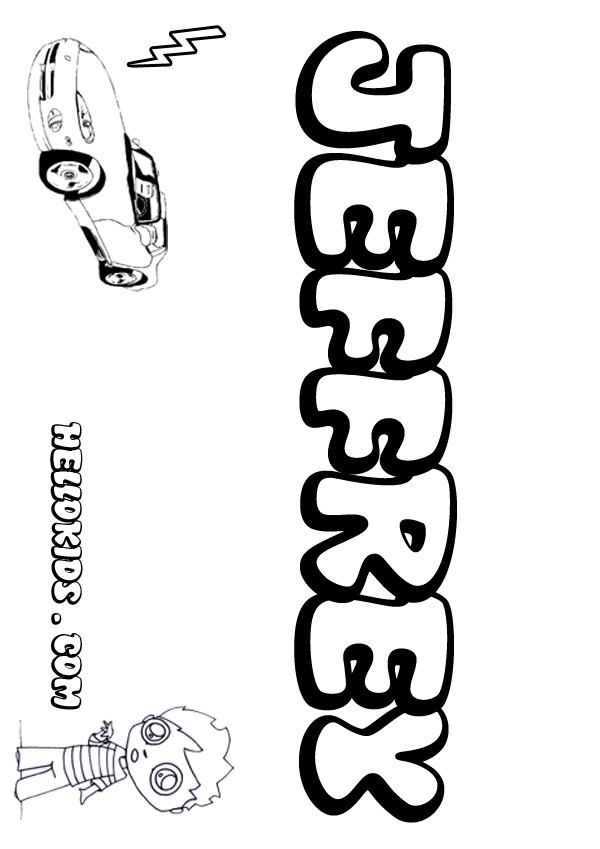 kids name coloring pages, Jeffrey boy name to color