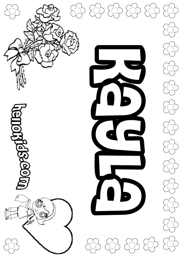 girls name coloring pages, Kayla girly name to color