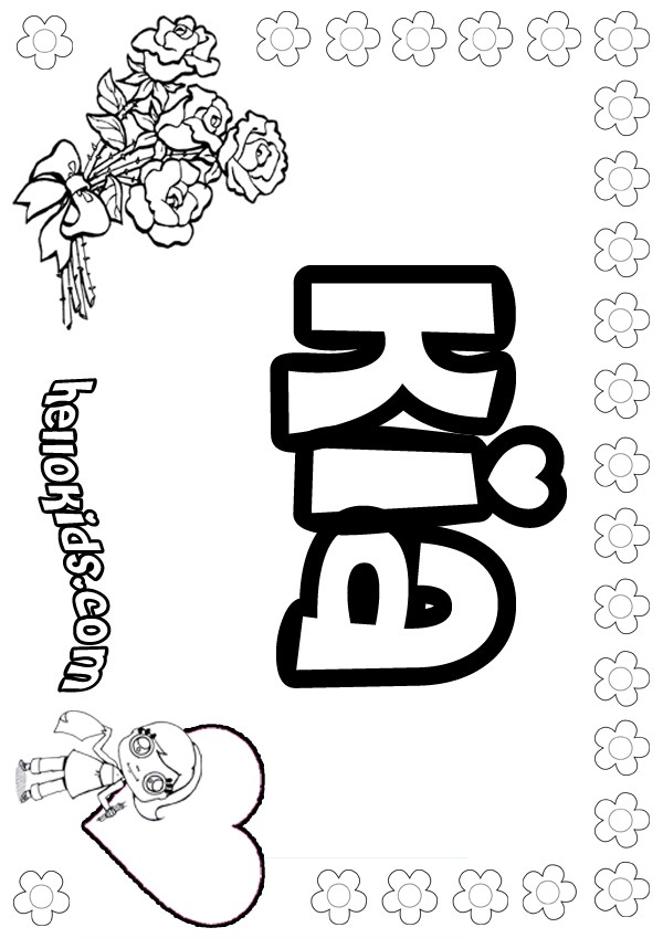 girls name coloring pages, Kia girly name to color