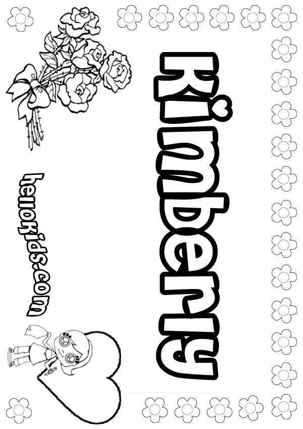 girls name coloring pages, Kimberly girly name to color
