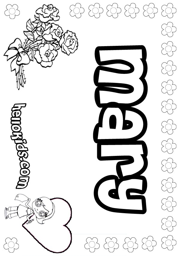 girls name coloring pages, Mary girly name to color