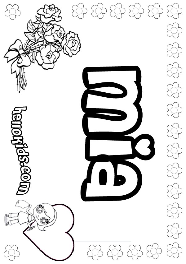 girls name coloring pages, Mia girly name to color