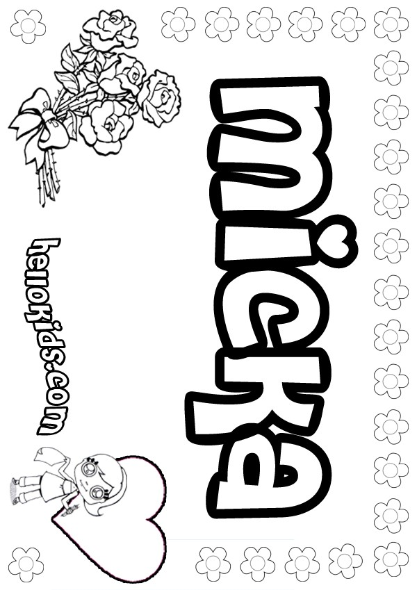 girls name coloring pages, Micka girly name to color