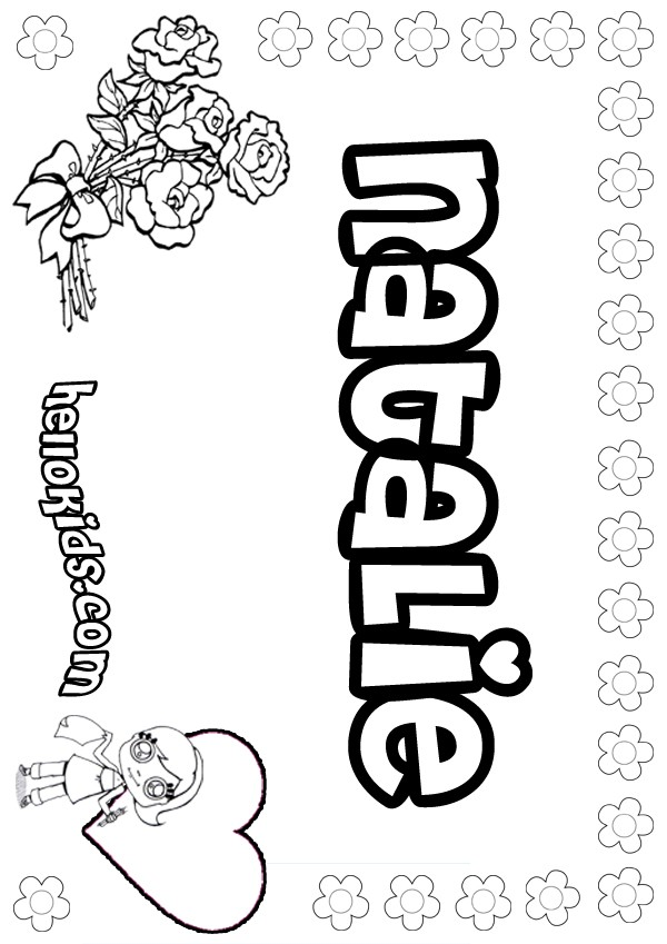 girls name coloring pages, Natalie girly name to color