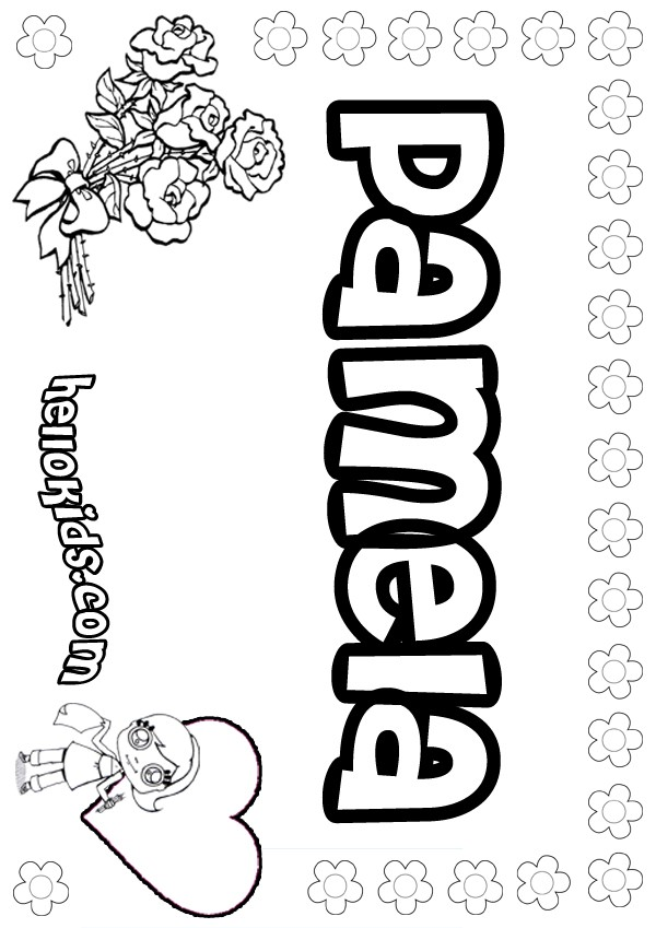 girls name coloring pages, Pamela girly name to color
