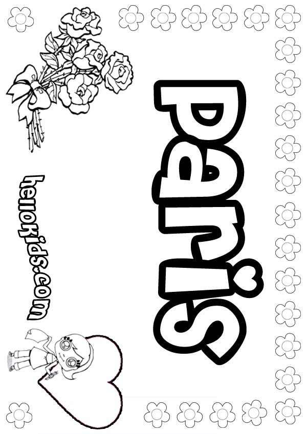 girls name coloring pages, Paris girly name to color