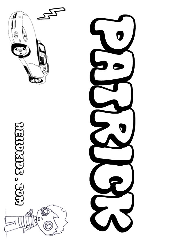 kids name coloring pages, Patrick boy name to color