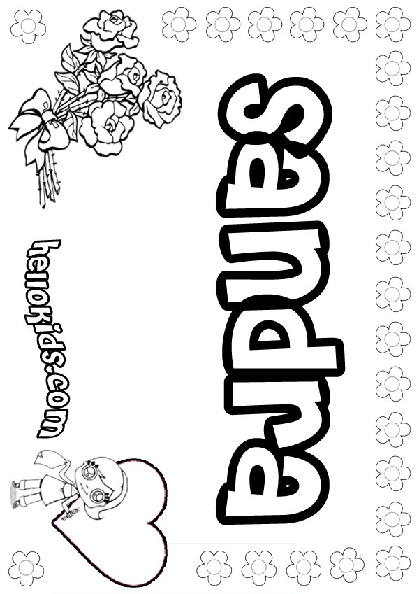girls name coloring pages, Sandra girly name to color