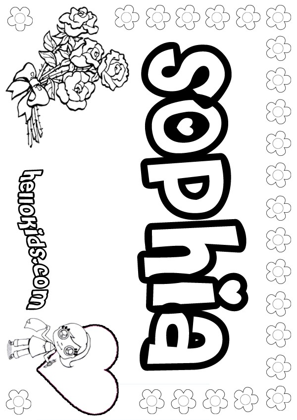 girls name coloring pages, Sophia girly name to color