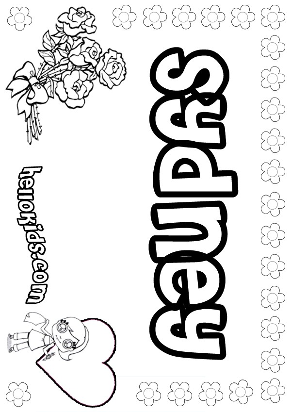 girls name coloring pages, Sydney girly name to color