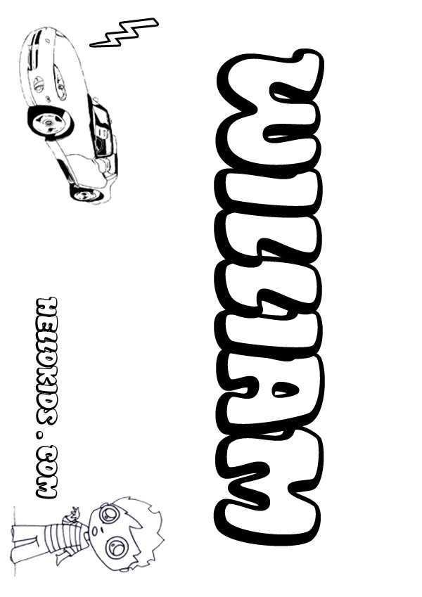 kids name coloring pages, William boy name to color