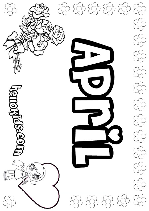 girls name coloring pages, April girly name to color