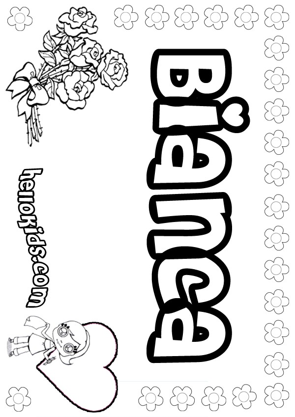 girls name coloring pages, Bianca girly name to color