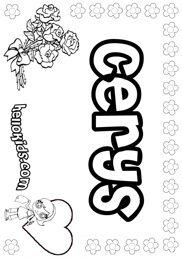 girls name coloring pages, Cerys girly name to color