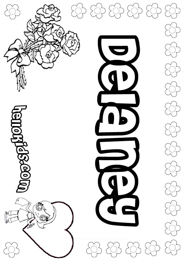 Girls Name Coloring Pages Delaney Girly Name To Color