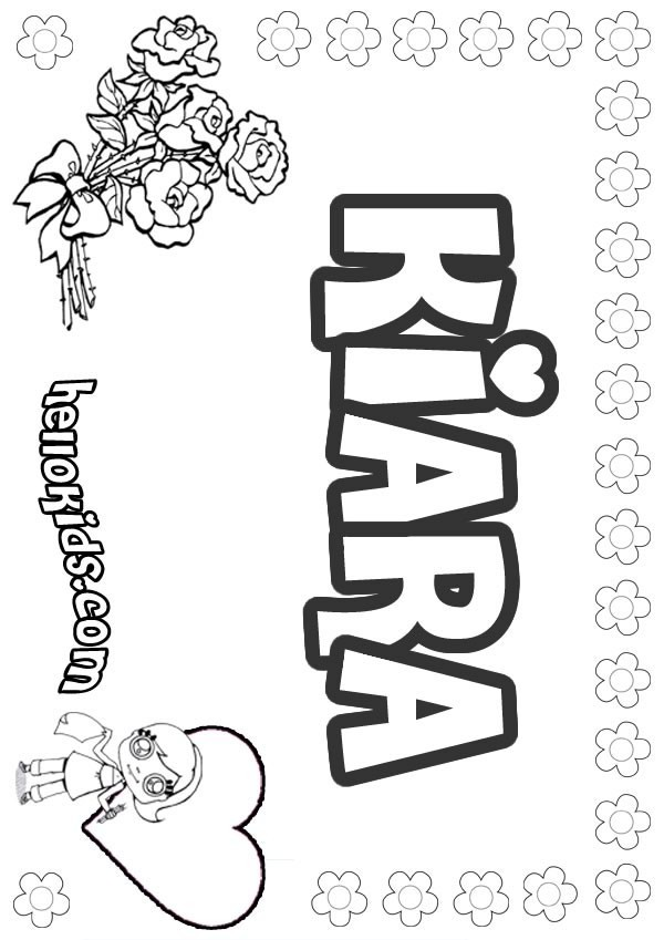 girls name coloring pages, Kiara girly name to color