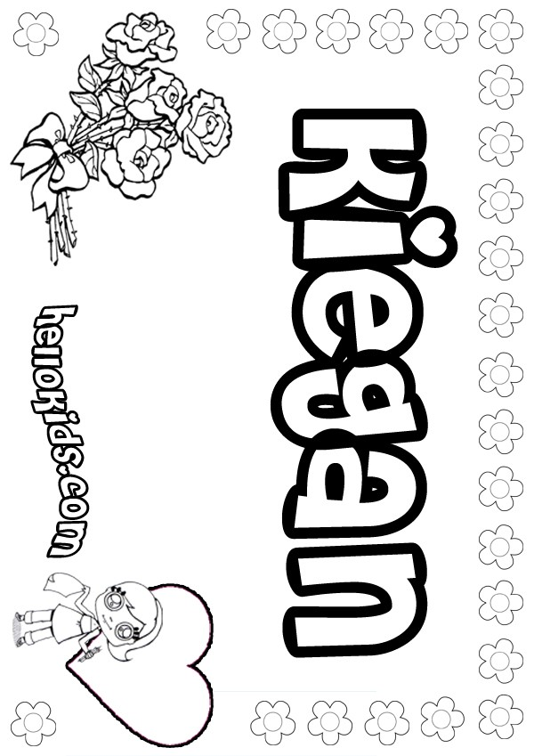 girls name coloring pages, Kiegan girly name to color
