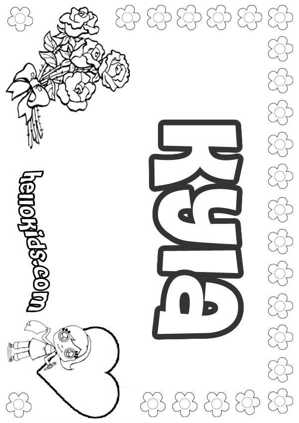 girls name coloring pages, Kyla girly name to color
