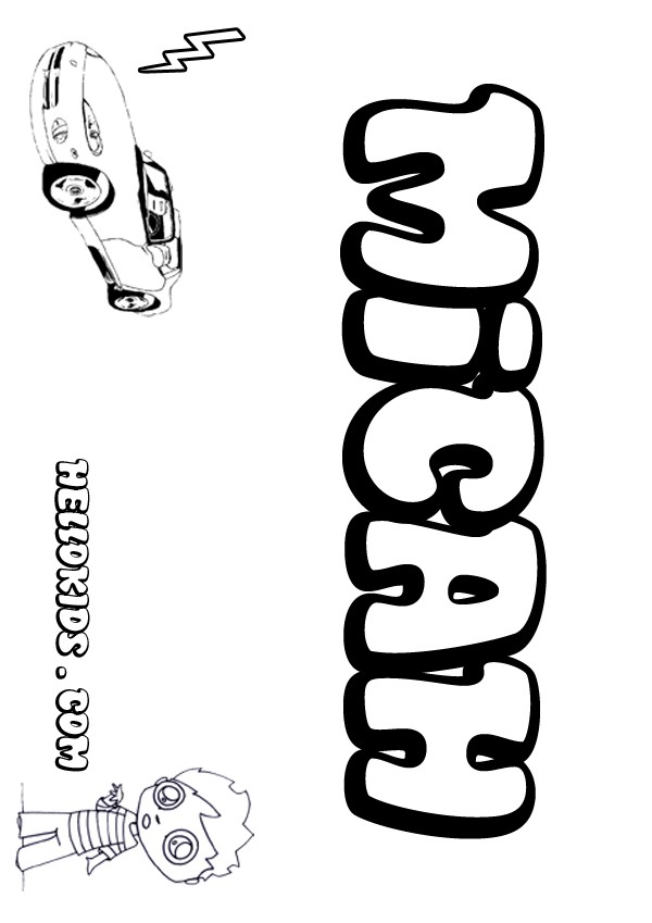 kids name coloring pages, Micah boy name to color