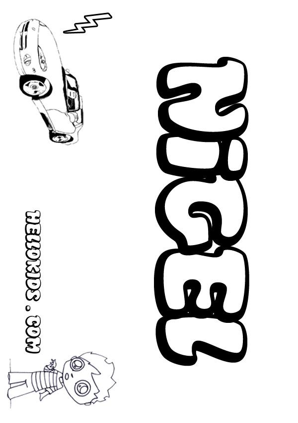 kids name coloring pages, Nigel boy name to color
