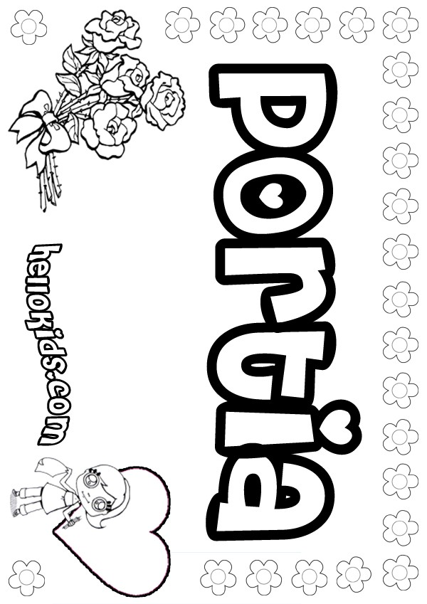 girls name coloring pages, Portia girly name to color
