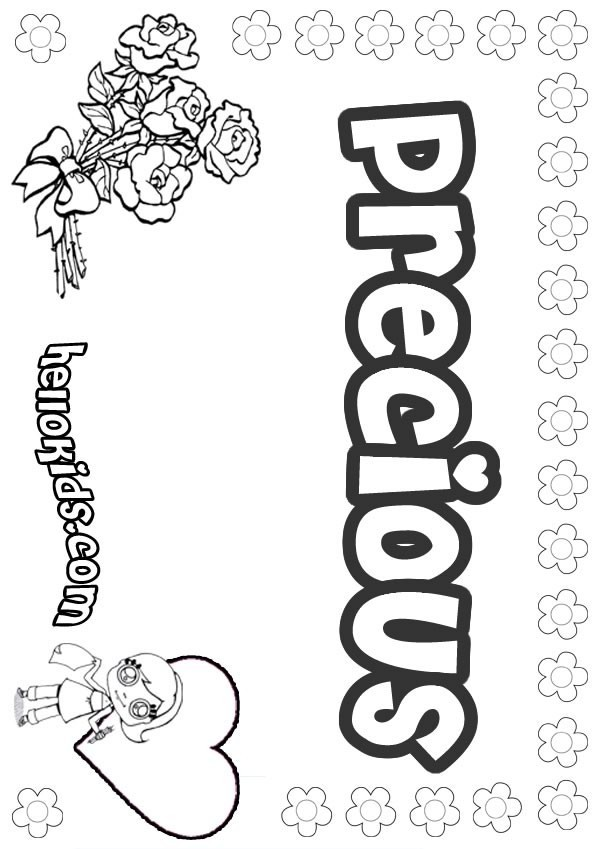 girls name coloring pages, Precious girly name to color