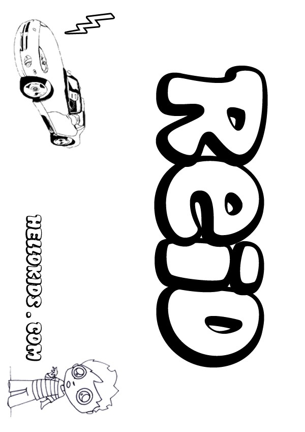 kids name coloring pages, Reid boy name to color